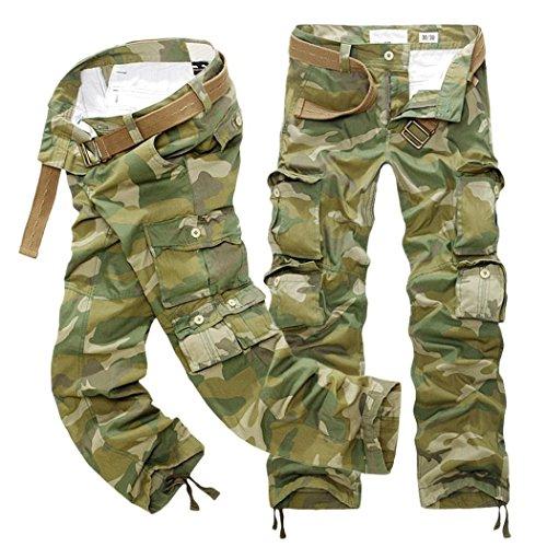 OWMEOT Men's Running Trousers -Fleece Sweatpant (Camouflage, 36) by OWMEOT