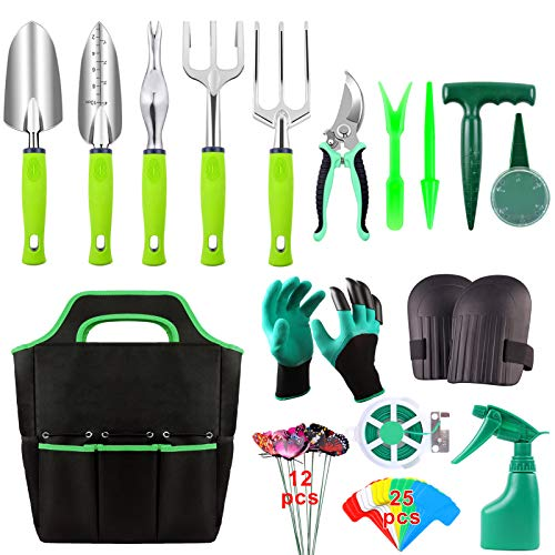 52 Pieces Garden Tools Set, Heavy Duty Gardening Tools with Non-slip Rubber Handle, Durable Storage Tote Bag, Pruning…
