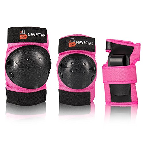 NAVESTAR Knee Pads Elbows Pads Wrist Guards for Kids & Adults, 3 in 1 Protective Gear Set for Skateboarding, Roller Skating, Rollerblading, Snowboarding