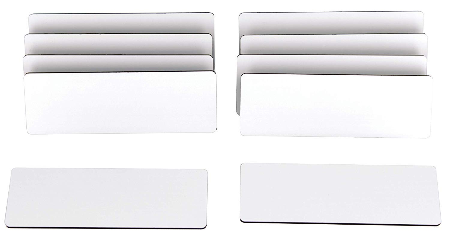 ExcelMark Blank Name Tag/Badge with Pin - White - 1'' x 3'' (10 Pack)