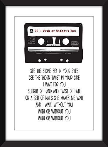 U2 With or Without You Lyrics Unframed Print for sale  Delivered anywhere in USA