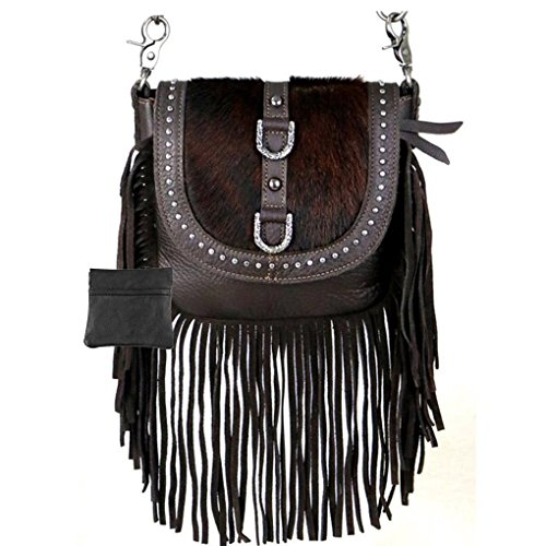 Coin Studded (Handcrafted Leather 4 in 1 Bundle Clutch Crossbody Biker Bag w Fringe & Coin Key Fob (Coffee with Hair & Buckles))