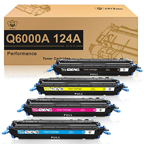 (CMYBabee Compatible Toner Cartridge Replacement for HP 124A Q6000A Q6001A Q6002A Q6003A Color Laserjet 1600 2600n 2605dn 2605dtn CM1015 CM1017 MFP (Black, Cyan, Yellow, Magenta, 4-Pack) )