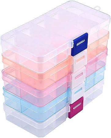 Lieblied Caja de Almacenamiento con Compartimentos, 5 Cajas de plástico en 5 Colores – Compartimentos Ajustables para Joyas, Perlas y Otros artículos pequeños (5 Unidades): Amazon.es: Hogar