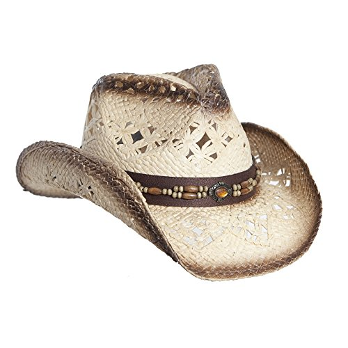 Tea Stain Straw Cowboy Hat for Women, Faux Leather Trim, Shapeable ()