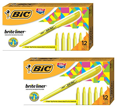 BIC Brite Liner Highlighter, Chisel Tip, Yellow, ()