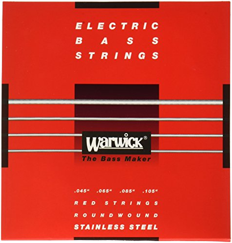 (Warwick Label Stainless Wound Bass Strings, 4 String, Medium, Red)