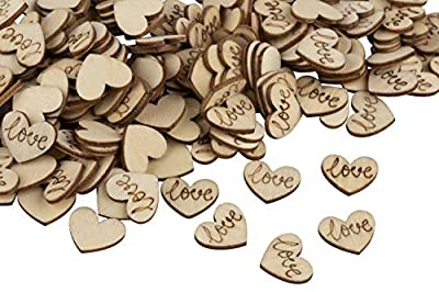 Wood Confetti - 200-Pack Wood Heart Confetti, Wood Confetti Wedding Decor, Love Confetti Table Scatters, for Wedding, Valentine's Day, Anniversaries, 0.6 x 0.5 x 0.08 Inches