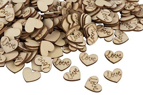 Wood Confetti - 200-Pack Wood Heart Confetti, Wood Confetti Wedding Decor, Love Confetti Table Scatters, for Wedding, Valentine's Day, Anniversaries, 0.6 x 0.5 x 0.08 - Confetti Shower Bridal