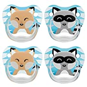 Dr. Brown's Classic Pacifier, 0-6m, Animal Faces Blue, 4 Count