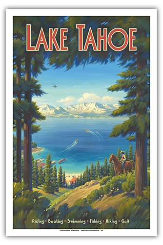 Lake Tahoe, California - Sierra Nevada Mountains - Riding, Boating, Swimming, Fishing, Hiking, Golf - Vintage Style World Travel Poster by Kerne Erickson - Master Art Print - 12 x 18in (Travel Hawaii Poster)