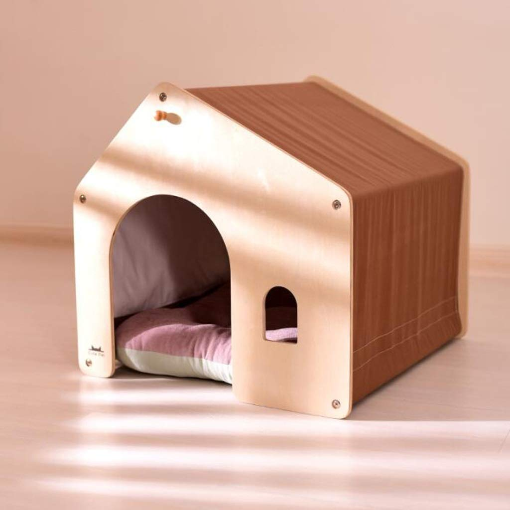Brown Small Brown Small KGMYGS Small Dog Kennel Deep Sleep Cat Room Removable And Washable Pet Room Indoor House Thick Warm, Four colors Optional Pet bed (color   BROWN, Size   S)