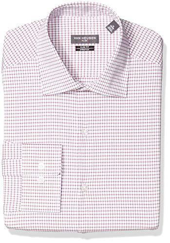Van Heusen Men's Dress Shirt Flex Collar Slim Fit Check, red/Multi, 18.5