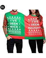 Keruite Funny Nice Double Couple Christmas Jumper Sweatshirt,Conjoined Twins 2 Tops Sweatshirt Clothes Christmas Party Decor