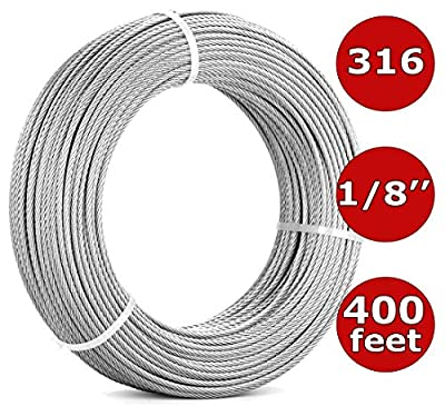 1/8'' Stainless Steel Cable Railing Kit 400FT (122m)   7x7 Aircraft Cable for Deck Cable Railing Systems, Hardware, Deck Stair, DIY Balustrade