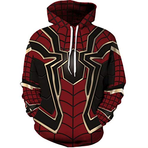 Szytypyl Superhero Spiderman Hoodie Iron Spider Coat Jacket Men Women Sweatshirt Halloween Costume -