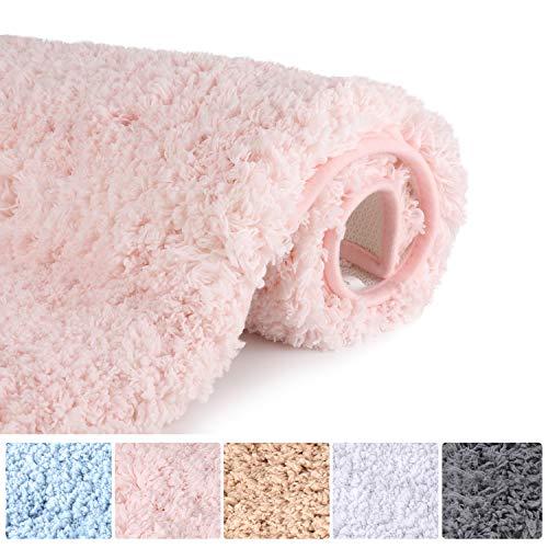 "Bathroom Rugs Microfiber Plush Bath Mat Machine Washable, Slip Resistance Rubber and Absorbency Bath Rugs for Bathroom Floor, Door and Sink, Rectangular Floor Mat,Light Pink,32""x 20"""