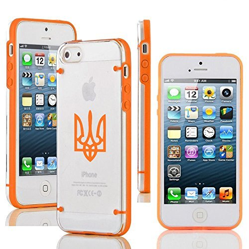Apple iPhone 6 Plus / 6s Plus Transparent Clear Hard TPU Case Cover Ukraine Tryzub Trident (Orange)