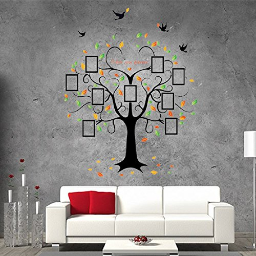 Amaonm Removable Huge Size Black Heart Shape Tree Wall Decals Cartoon Family Picture Photo Frame Wall Stickers Wallpaper for Kids Rooms Bedroom Living room Offices Nursery Classroom