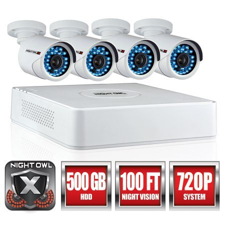 Night Owl Security WMBF-445-720 4 Channel 720p HD Video System Indoor/Outdoor (White)