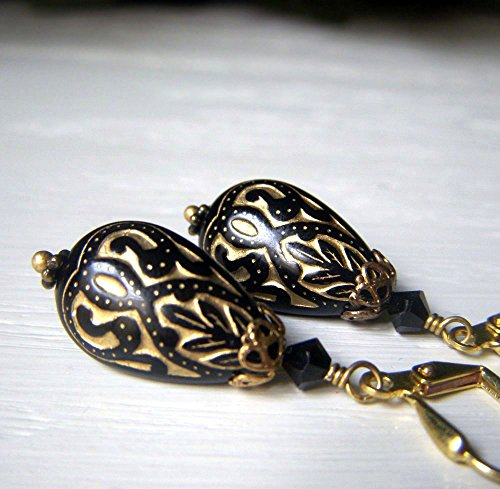 Black and Gold Teardrop Earrings - Brass Dangle - Vintage Inspired Lucite Etched Lightweight Bead Earrings