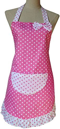 Ruffle Women/'s Apron Pink and White Polka Dots Pocket