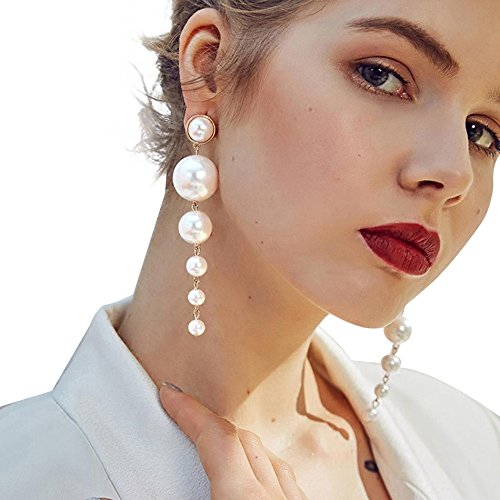 Fashion Earrings, UMFun Women Gold Chain Jewelry Earring Pearl Long Charm Dangle Drop Earring 10.5cm Gift ()