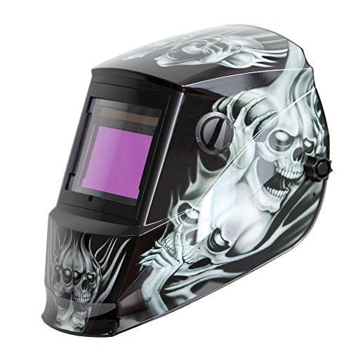 Antra AH6-660-6218 Solar Power Auto Darkening Welding Helmet with AntFi X60-6 Wide Shade Range 4/5-9/9-13 with Grinding Feature Extra Lens Covers Good for TIG MIG MMA Plasma