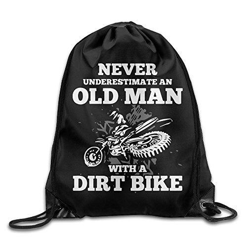 NEVER UNDERESTIMATE AN OLD MAN WITH A DIRT BIKE Drawstring Backpack Bag Beam Mouth School Travel Backpack Rucksack Shoulder Bags For Men & Women from 05_&_NG
