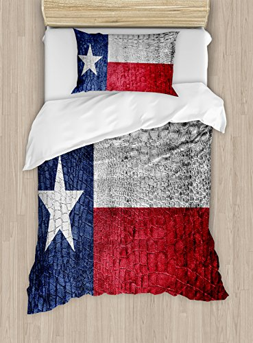 Western Decor Duvet Cover Set by Ambesonne, Texas State Flag Painted on Luxury Crocodile Snake Skin Texture Looking Patriotic Emblem, 2 Piece Bedding Set with 1 Pillow Sham, Twin / Twin XL Size