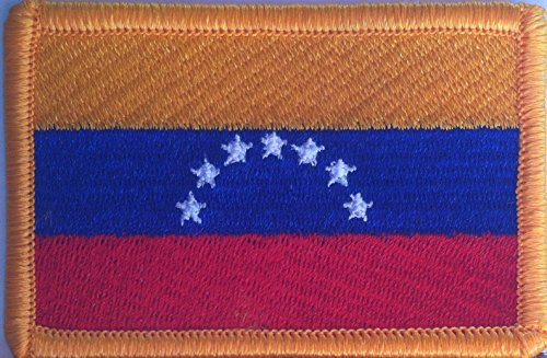 - Venezuela Flag 7 Stars Embroidery Iron-On Patch Emblem Gold Merrow Border