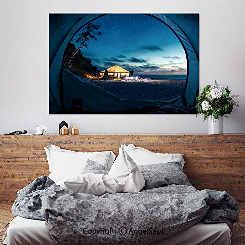 SfeatruAngel_SOSUNG Inspirational Framed Wall Art,Tent at Beach in Summer at Night with Stars(20