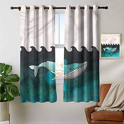 petpany backout Curtains for Bedroom Whale,Whale Near Palm Island,Pocket Thermal Insulated Tie Up Curtain 42