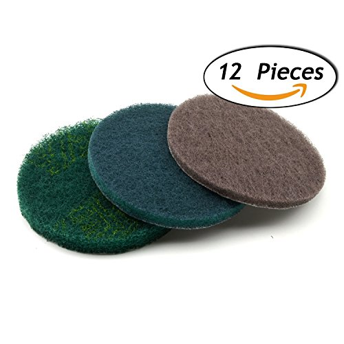 5 Inch Round Hook and Loop Scouring Pad Industrial Heavy Duty Nylon Cleaning Cloth, 4-pieces Each of 240, 800, 1500 Grits (4 Loops Round)