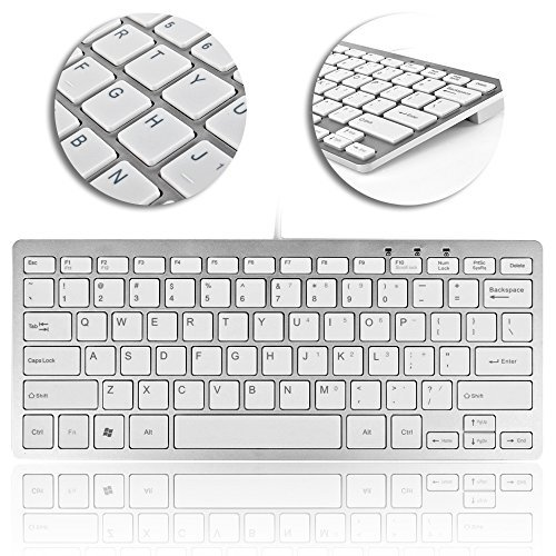 TNP USB Mini Keyboard (Metallic Silver / White) Ultra Slim Portable Wired 78 Keys with Built-in Cable for PC Mac Notebook Laptop Netbook PS3 PS4 Xbox 360 One Windows 10 8 7 XP Vista