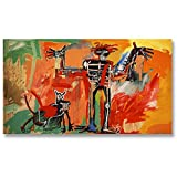 Jean-Michel Basquiat Original Graffiti Art Boy And Dog In A Johnnypump 1982 Canvas Paintings Hand Painted Reproduction Unframed Tablet - 48X28 inch (122X71 cm) for Living Room Wall Decor To DIY Frame