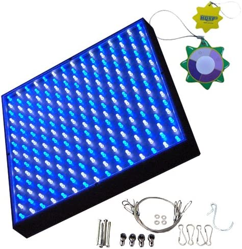 HQRP New Square LED Grow Light System Blue White 225 LED 14W Hanging Kit Sun Meter