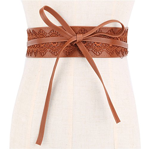 oboss Women Obi Belt Waist Band With Lace Self Knot Tie Up Cinch One Size Fits All (Brown) (Belted Lace Belt)