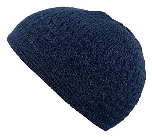 Candid Signature Apparel Zigzag Threaded Skull Cap Chemo Kufi Beanie Hat for Men Women Bikers (Navy Blue) (Zag Zig Beanie)