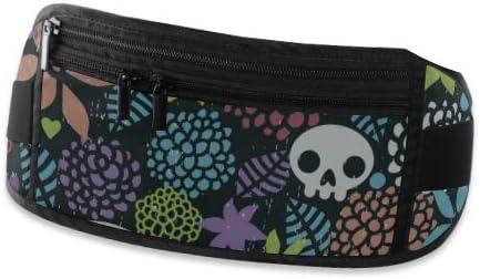 Travel Waist Pack,travel Pocket With Adjustable Belt Skulls And Flowers Art Running Lumbar Pack For Travel Outdoor Sports Walking