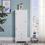 SW Wood White Cabinets & Collection with 1 Door and 2 Drawers 2 Shelves