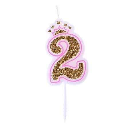 Chiic Vela – Corona de purpurina para tartas de cumpleaños con números 0 a 9, ideal como accesorio de cumpleaños PK 2
