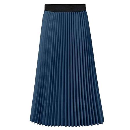 Mebeauty Faldas de Mujer Falda a Media Pierna con Pliegues de ...