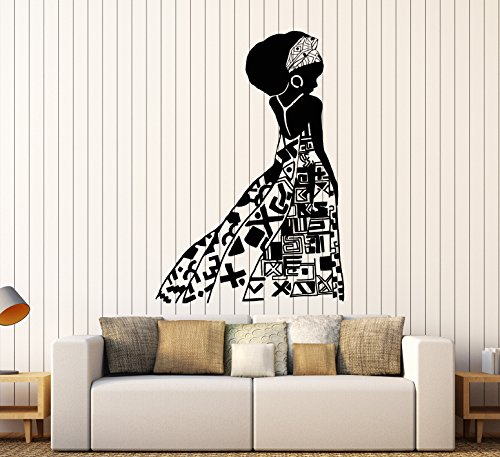(DesignToRefine Vinyl Wall Decal African Girl Black Woman Native Ethnic Style Stickers Large Decor (1422ig) Brown)