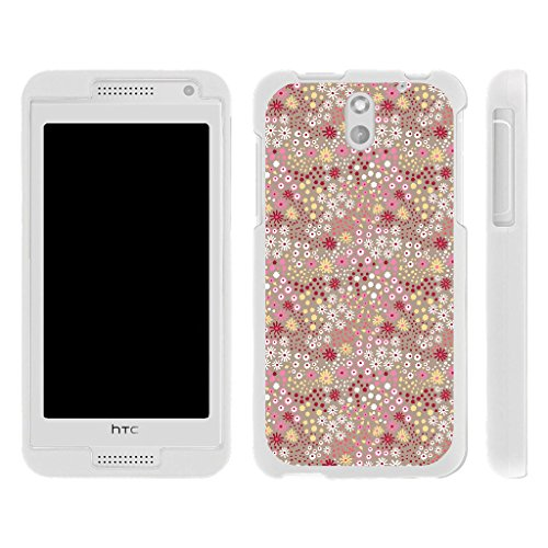 HTC Desire 610 Case , Snap on Shell Rubberized Grip Custom Unique Image Cover Shell White with Designs By TurtleArmor | 2 in 1 Combo Includes Clear Screen Protector and Case - Multicolour Flower Dots