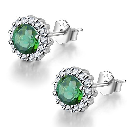 COLORFEY Pink Tourmaline Natural Gemstone Round S925 Sterling Silver Stone Earring Studs for Women Girls (Green Tourmaline)