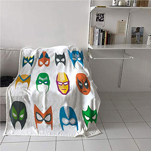WilliamsDecor Superhero Boys Blanket,Hero Mask Female Male Costume Power Justice People Fashion Icons Kids Display,Digital Printing Blanket,Blanket for Sofa Couch Bed 51