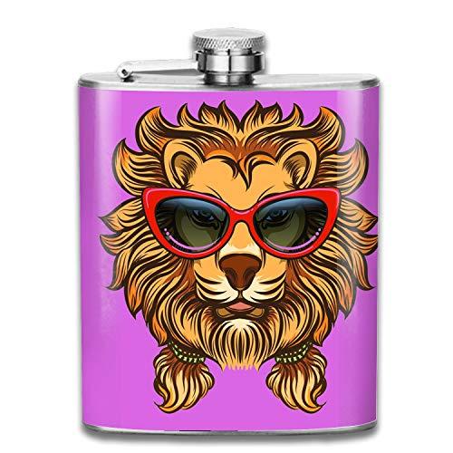 (Glam Lion With Red Sunglasses Flask 7 oz Premium Shot Flasks 304 Highest Food Grade Stainless Steel Leak Proof Slim Hip Flasks)