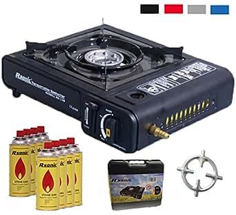 Hornillo de gas 2in1camping hervidor con 8cartuchos de gas 2,3kW + cocina de gas Cruz + Maletín (Color Negro, Rojo, Azul o gris)