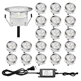 LED Deck Lights Φ1.77'' Low Voltage 1W Waterproof IP67 Outdoor Step Lights Garden Yard Decoration Lamp Recessed Landscape Pathway Step Stair LED Lighting(Warm White/20 Pack)